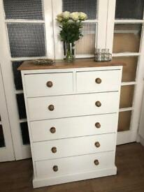 Solid wood chest of drawers free delivery in London shabby chic tall boy spacious