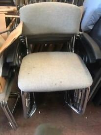 Light Grey, Chrome Canter Leaver Chairs with Arms - Stackable