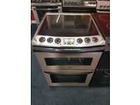 ZANUSSI 60CM CEROMIC TOP ELECTRIC COOKER IN SHINY SILIVER. R
