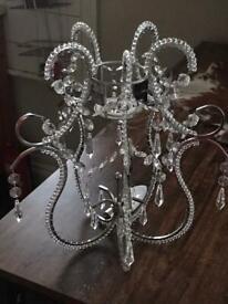 Chandelier light shade shabby chic boho crystal silver