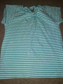 Girls turquoise and white shirt
