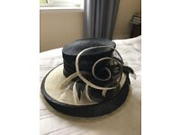 Lovely black and cream occasion hat - worn just once to Royal Ascot
