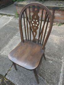 12 x Vintage Dark Wood Wheelback Dining Chairs