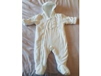 White baby snowsuit /pramsuit 3-6 months from next