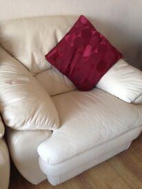 2 x Cream Leather Sofa chairs