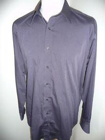 "Jeff Banks formal shirt, grey stripes, size 17.5""/44cm New & Unworn !"