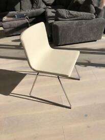 4x white padded soft leather dining chairs