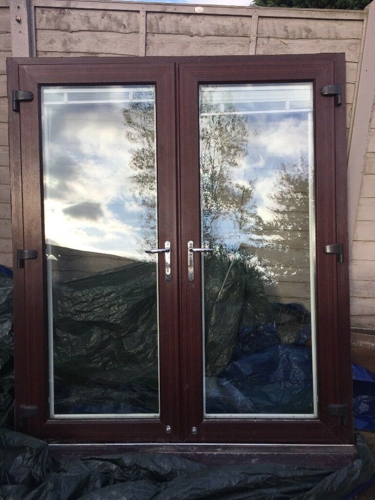 Upvc French Doors Brown Mahogany White Interior With White Blinds