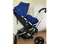 3 in 1 blue mothercare pram