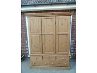 Pine Triple Wardrobe with Five Drawers