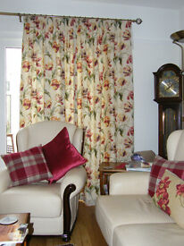 NEARLY NEW CURTAINS made by Laura Ashley. Size 2 off 2.2m drop, 2.65 wide (before gathering).
