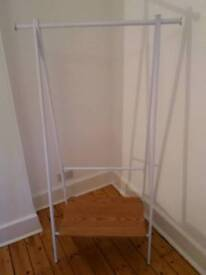 2 White Metal and Wood Hanging Rails