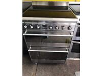 Stainless still smag 60cm ceramic hob electric cooker grill & double fan assisted ovens with guara