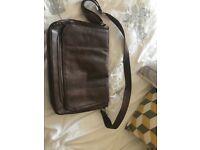 Brown leather look man bag