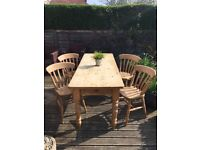 Pine Farmhouse Dining Table And Chairs x 4