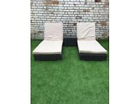 NEXT rattan garden sun loungers and table (seat/chair/furniture)