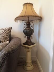 Fringed Lampshade with Base and Stand