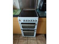 Hotpoint HUE52PS Free Standing Electric Cooker with Ceramic Hob 50cm White