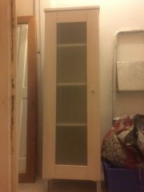 White shelved storage cupboard ideal for bathroom or bedroom