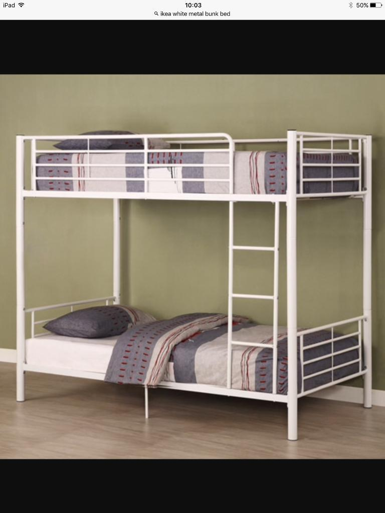 White Metal Ikea Bunk Bed Frame In Waterlooville Hampshire Gumtree
