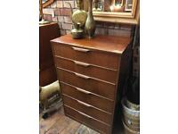 VINTAGE RETRO MID CENTURY AUSTINSUITE TALLBOY CHEST OF DRAWERS (6) IN NEED OF TLC