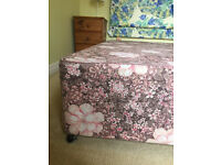 Double bed base with headboard and mattress