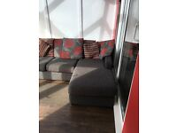 Grey/Red Corner/Lay Down Sofa