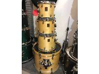 Premier drum kit in natural finish.