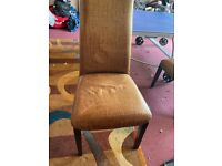 Set of 4 leather chairs and 2 benches