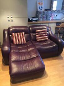 DFS Purple Leather Sofa