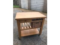 Solid Wood Butchers Block on lockable wheels