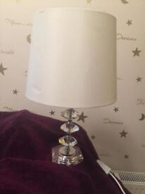 Table lamp crystal glass cream shade