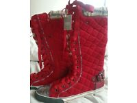Brand new red laced boots size 5