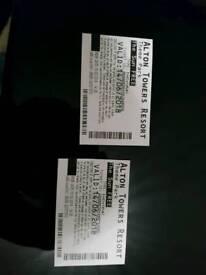 2 X Alton Tower Tickets £25 thursday 14/06/2018