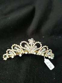 Diamonte and gold tiara comb