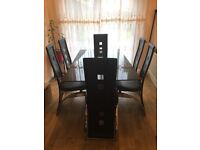 Black glass dining table set! Good condition