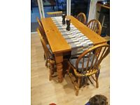 Pine table with 6 chairs