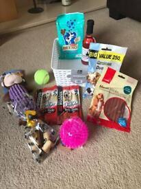 Dog Birthday Gift Hamper Basket, Toys, Treats & Pawsecco