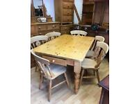SOLID PINE TABLE WITH DRAW & 6 CHAIRS