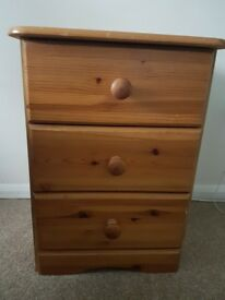 Pine bedside table 3 drawers