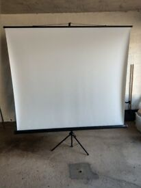 LARGE PROJECTOR SCREEN WITH BUILT IN STAND