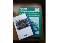 Ford Escort Haynes Manual 1990-2000 and Owners Handbook