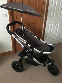 Icandy peach jogger stroller with carry cot and stroller in glacier