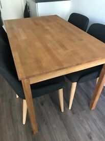 Oak dining table & grey chairs