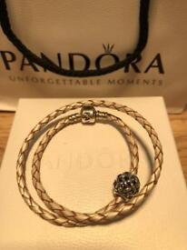 Brand new pandora silver leather bracelet double