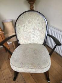 SUPER VINTAGE ERCOL ARMCHAIR WITH FLUER DE LYEES DESIGN TO THE BACK