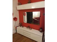 Ikea sideboard n wall unit. White gloss.