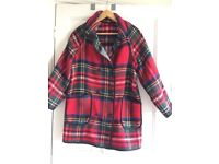 RIVER ISLAND FULLY REVERSIBLE TARTAN COAT, SMALL.