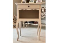 Beautiful French Vintage Bedside Table. Painted off-white.