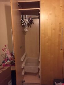 2 double wardrobes in excellent condition. Colour beech with storage tubs and shelves